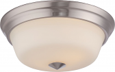 "Calvin LED Nickel Flush Ceiling Light Glass Shade 13Wx5""H"