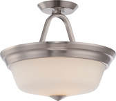 "Calvin LED Nickel Semi Flush Ceiling Light Glass Shade 13Wx11""H"