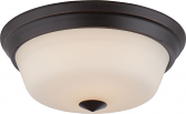 "Calvin LED Bronze Flush Ceiling Light Glass Shade 13""Wx5""H"