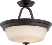 "Calvin LED Bronze Semi Flush Ceiling Light Glass Shade 13""Wx11""H"