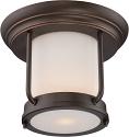 """Bethany Bronze & Satin Glass Flush Ceiling Light 10""""Wx8""""H"""