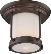 "Bethany Bronze Flush Ceiling Light Satin Glass Shade 10""Wx8""H"