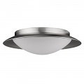 "Aurora LED Satin Nickel Opal Glass Shade Flush Ceiling Light 12""Wx3""H"