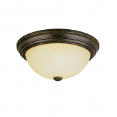 "Burnished Gold Flush Ceiling Light Scavo Glass 13""Wx5""H"