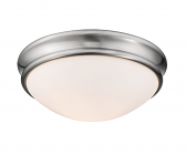 "Brushed Nickel Flush Ceiling Light Scavo Glass 10""Wx4""H"