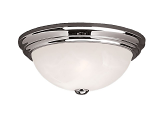 "Chrome Flush Ceiling Light Alabaster Glass 11""Wx5""H"