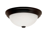 "Black Flush Ceiling Light Alabaster Glass 11""Wx5""H"