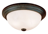 "Burnished Gold Flush Ceiling Light Alabaster Glass 13""Wx5""H"