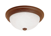 "Bronze & Alabaster Glass Flush Ceiling Light 13""Wx5""H"