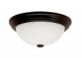 "Alabaster Glass & Black Flush Ceiling Light 13""Wx5""H"