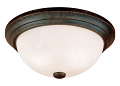 "Burnished Gold Flush Ceiling Light Alabaster Glass 15""Wx5""H"