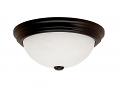 "Black Flush Ceiling Light Alabaster Glass 15""Wx5""H"