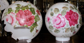 Broken Ball Glass Shade (left), Repainted Replacement (right)