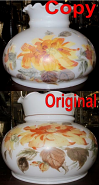 "Repainted Replacement Hurricane Glass Shade 10"" Fitter"