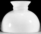 "White Flat Dome Hurricane Glass Lamp Shade 10"" Fitter"