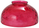 "Cranberry Thumbprint Hurricane Glass 14""W Fitter"