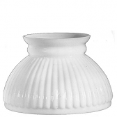 "White Ribbed Hurricane Glass Lamp Shade 6"" Fitter"