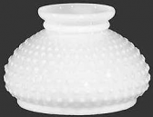 "Hobnail White Hurricane Glass Shade Flat Top 7"" Fitter"