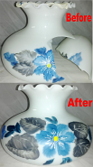 Hand Painted Glass Shade Before & After