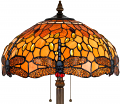 "Golden Jeweled Amber Dragonfly Tiffany Floor Lamp 63""H"