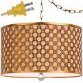 """Antique Gold Drum Plug In Pendant Light 16""""W"""
