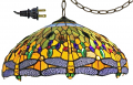 "Golden Dragonfly Tiffany Plug In Pendant Light 18""W - Sale !"