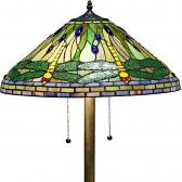"Green & Yellow Dragonflies Tiffany Floor Lamp 58""H"