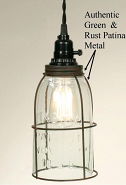 "Mason Jar Swag Lamp Half Gallon Wire Cage 4.5""W11.3""H"