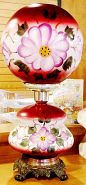 New Hand Painted Burgundy Ball Glass Shade Matches Old Base