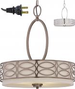 "Harlow Drum Plug In Pendant Light 18-24""W"