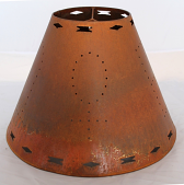 Southwestern Rust Patina Pierced Metal Lamp Shade