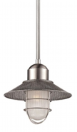 """Neo Industrial Nickel Railway Pendant Light Etched Glass 10""""Wx43""""H"""