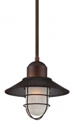 """Neo Industrial Bronze Pendant Light Etched Glass 10""""Wx43""""H"""