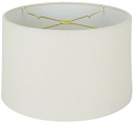 "Rolled Edge Ivory Linen Shallow Drum Lamp Shade 12-18""W"