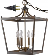 "Kennedy Bronze Lantern Plug In Pendant Light 13""Wx20""H"