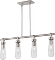 "Beaker Brushed Nickel Island Light Glass Shades 36""Lx 52""H"