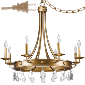 "Krista Antique Gold & Crystal Plug In Chandelier 32""Wx31""H"