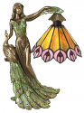 "Bronze Lady & Peacock Tiffany Torchiere Lamp 23""H"