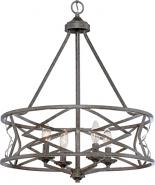 "Lakewood Antique Silver Iron Drum Pendant Light 21""Wx26""H"