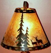 Deer & Pine Trees Mica Lamp Shade