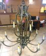 "Large Bronze Gold Brushed Chandelier 42""W - Sale !"