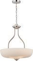 "Kirk Polished Nickel LED Etched Opal White Glass Pendant Light 18""Wx20""H"