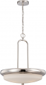 "Dylan Nickel & Satin White Glass LED Pendant Light 18""Wx21""H"