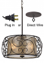 """Bronze & Iron Mica Drum Pendant Light Chandelier Plug In or Direct Wire 19""""W"""