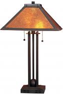 "Square Bronze Lamp w/Dirk Van Erp Style Mica Shade 24""H"