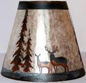 Deer Pine Trees Mica Lamp Shade