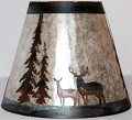 "Deer Pine Trees Mica Lamp Shade 12-20""W"