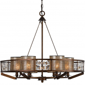 "Large Chandelier Iron Wood & Crystals w/Mica Shades 28""Wx25""H - Sale !"