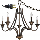 "Michelle Bronze Wrought Iron Shepherds Crook Plug In Chandelier 28""Wx25""H"