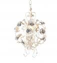 """White Mini Chandelier Pendant Light Roses & Crystal 11""""W"""